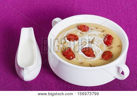 Delicious Beer And Cream Spicy Soup With Kielbasa Sausage