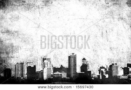Grungy city background in black and white