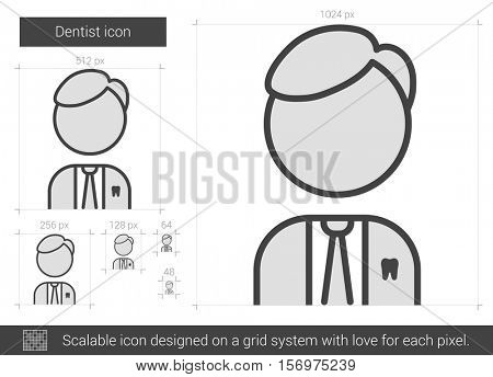Dentist vector line icon isolated on white background. Dentist line icon for infographic, website or app. Scalable icon designed on a grid system.