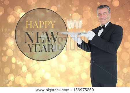 Digital Composite of New Year Message and Waiter on Blurry Background Design