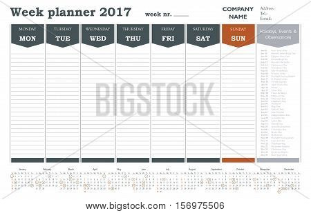 Week planner 2017 calendar for companies and private use - holidays included