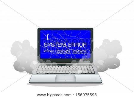 a broken laptop error screen vector on a white background