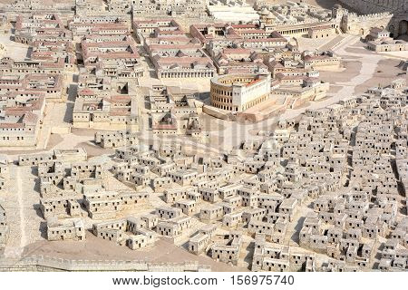 JERUSALEM ISRAEL 25 11 16: The City of David A model in the Israel Museum Israel. This 50:1 scale model, covering nearly one acre, evokes ancient Jerusalem at its peak
