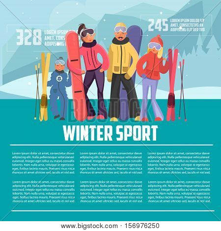 Winter sport template. Skier family on vacation. Family winter sports vector illustration. Family with snowboards and skis. Parents with children on winter vacation. Winter vacation letterhead template.