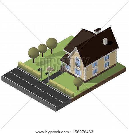 Cottage, Small House With Yard, Green Grass, Road, Isometric Vector EPS10