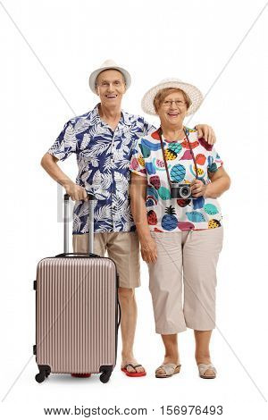 Full length portrait of mature tourists with a suitcase isolated on white background