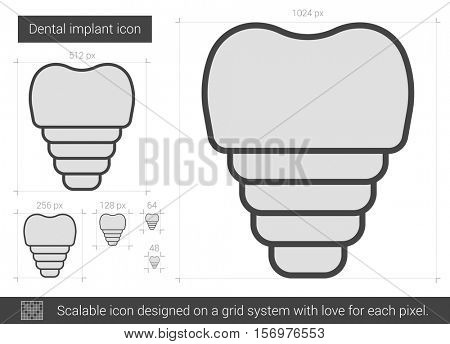 Dental implant vector line icon isolated on white background. Dental implant line icon for infographic, website or app. Scalable icon designed on a grid system.