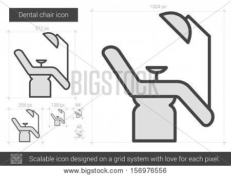 Dental chair vector line icon isolated on white background. Dental chair line icon for infographic, website or app. Scalable icon designed on a grid system.
