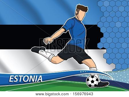 Vector illustration of football player shooting on goal. Soccer team player in uniform with state national flag of Estonia.