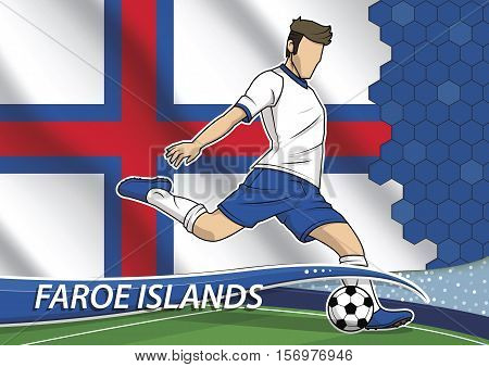 Vector illustration of football player shooting on goal. Soccer team player in uniform with state national flag of Faroe islands.