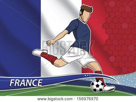 Vector illustration of football player shooting on goal. Soccer team player in uniform with state national flag of France.