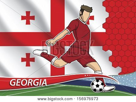 Vector illustration of football player shooting on goal. Soccer team player in uniform with state national flag of Georgia.