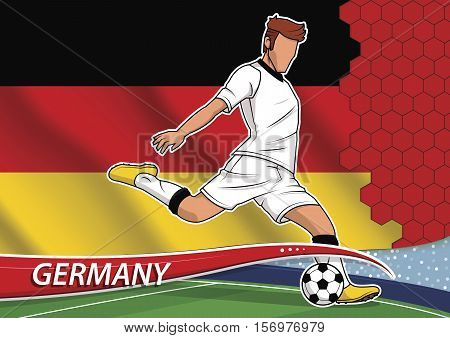 Vector illustration of football player shooting on goal. Soccer team player in uniform with state national flag of Germany.