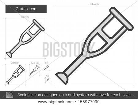 Crutch vector line icon isolated on white background. Crutch line icon for infographic, website or app. Scalable icon designed on a grid system.