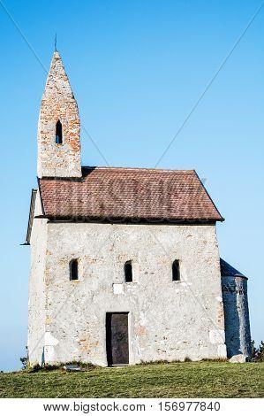 Romanesque church Saint Michael Drazovce Slovak republic. Architecture theme. Vertical composition. Travel destination.