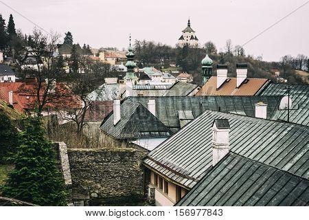 New castle in Banska Stiavnica Slovak republic. Historical minning city. Architectural theme. Cultural heritage. Travel destination.
