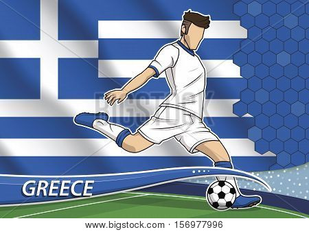 Vector illustration of football player shooting on goal. Soccer team player in uniform with state national flag of Greece.