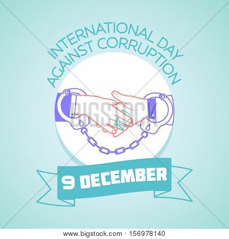 Calendar for each day on december 9. Greeting card. Holiday - International Day Against Corruption. Icon in the linear style