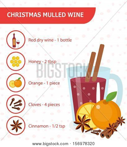 Christmas cocktail recipe. Mulled wine recipe with ingredients. Warm winter drink. Vector illustration