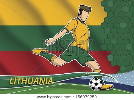 Vector illustration of football player shooting on goal. Soccer team player in uniform with state national flag of Lithuania.
