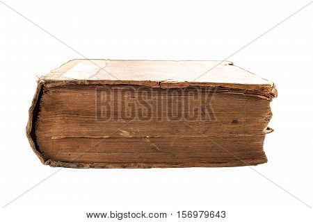 Old tattered book on white background. Texture of the old cracked cardboard cover of the book