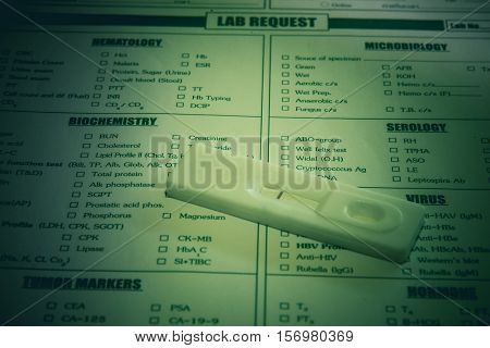 Lab request for HIV test and Hepatitis C virus test,Result HIV and HCV negative cassette test,Vintage tone