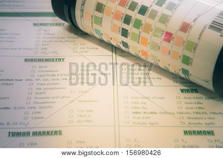 Urine examination test for laboratory hospital,vintage tone