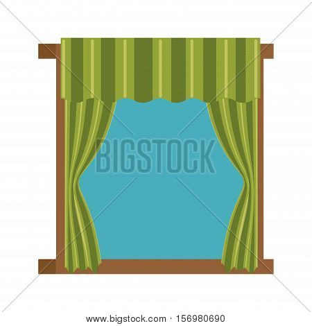 windows with courtain icon vector illustration design