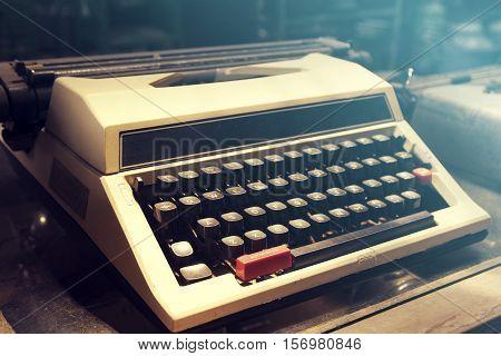 Close up, The Antique Typewriter machine, vintage tone