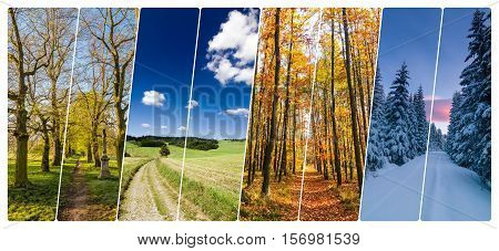 Four season collage from vertical banners with roads in landscape.