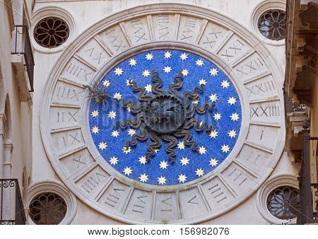 St Mark's Clocktower. Zodiac astronomical Clock Tower Torre dell Orologio from St. Mark's Square (Piazza San Marko) Details. Venice Italy. Europe.