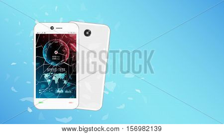 broken glass screen smartphone with speed test interface