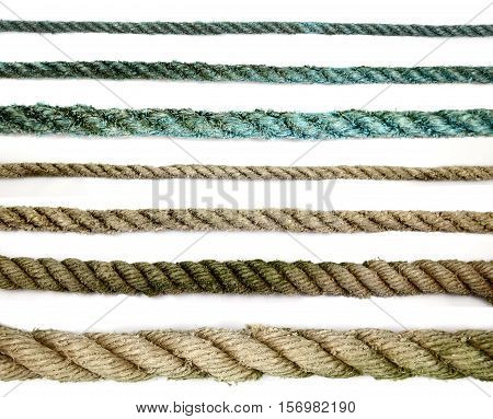 Old rope in different thickness and colors