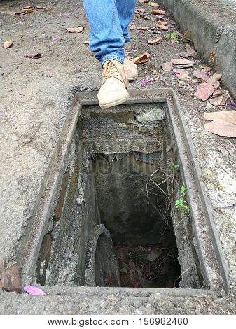 Emergency and dangerous  situation when a man nearly fall into a drain, real feet