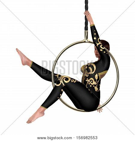 3D rendering of a female circus performer isolated on white background