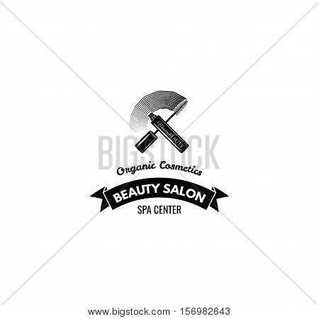 Beauty Salon Label. Mascara for Eyelashes. Eye Makeup. Badge Vector Illustration. Isolated