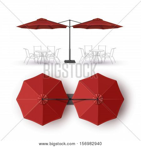 Vector  Red  Blank Patio Double Outdoor Beach Cafe Bar Pub Lounge Restaurant Round Umbrella Parasol  for Branding Top Side View Mock up Close up Isolated on White Background.
