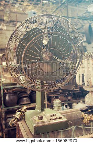 Closeup, Retro fan in Antique store vintage tone