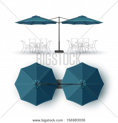 Vector Blue Blank Patio Double Outdoor Beach Cafe Bar Pub Lounge Restaurant Round Umbrella Parasol for Branding Top Side View Mock up Close up Isolated on White Background.