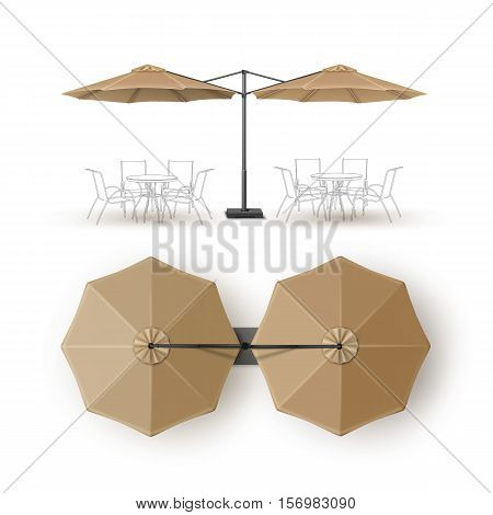 Vector Beige Blank Patio Double Outdoor Beach Cafe Bar Pub Lounge Restaurant Round Umbrella Parasol for Branding Top Side View Mock up Close up Isolated on White Background