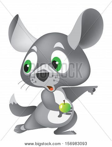 chinchilla cartoon character holding an apple in his paw. sticker. vector illustration