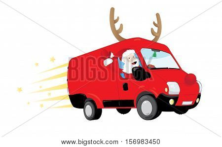 Funny Santa Claus driving a red van and delivering presents