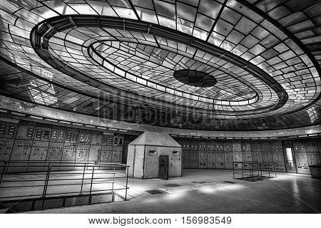 BUDAPEST HUNGARY - SEPTEMBER 11 2016: Control room of an abandoned power plant on September 11 2016 in Budapest