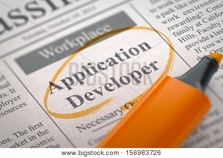 Application Developer - Classified Advertisement of Hiring in Newspaper, Circled with a Orange Highlighter. Blurred Image with Selective focus. Hiring Concept. 3D Render.