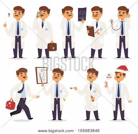 Doctor character vector isolated. Vector illustration of doctor on white background. Flat style different doctors characters in uniform