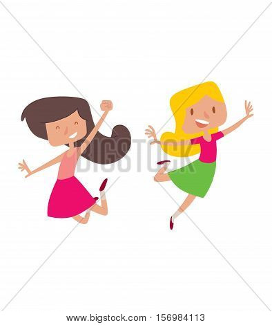 Cute girl jumping very high and happy character vector. Jumping beautiful hipster and happy jumping. Expression smile healthy joy