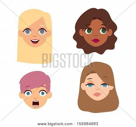 Girl emotion faces cartoon vector illustration. Woman emoji face icons and woman emoji face cute symbols. Woman emoji face happy vector and girls emoji face character symbols. Different nations faces