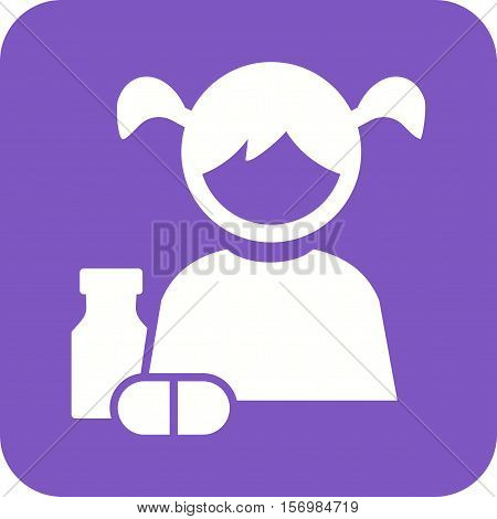 Medicine, child, kid icon vector image. Can also be used for kids. Suitable for web apps, mobile apps and print media.