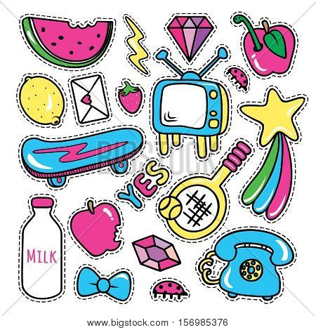 Stickers collections isolated with black stitched strokes on white purple background. Trendy fashion chic patches pins badges design set in cartoon 80s-90s comic style. Vector illustration.