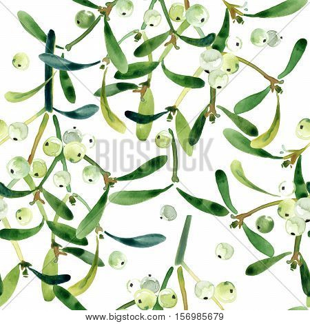 christmas seamless pattern. seamless pattern with mistletoe branch. watercolor mistletoe. Christmas mistletoe.